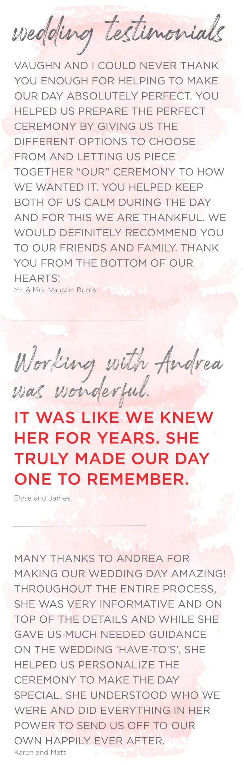 Andrea Brock healing customized ceremonies testimonials